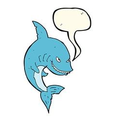 Funny cartoon shark with speech bubble vector