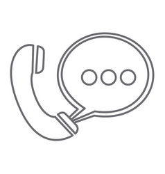 Grayscale silhouette of telephone with oval speech vector