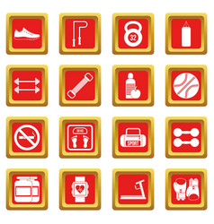 Gym icons set red vector