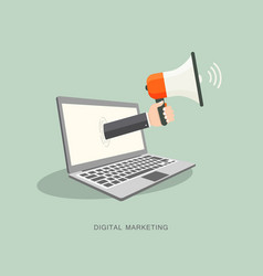 Hand holding megaphone with laptop vector