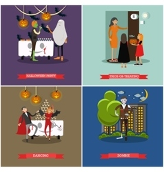 Happy halloween holiday party concept posters vector