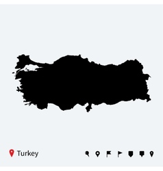 High detailed map of Turkey with navigation pins vector image vector image