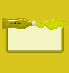 jalapeno sauce in and out lying bottle on light vector image vector image