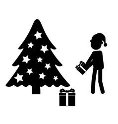 Man in santa hat giving gift near christmas tree vector