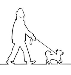 man walking the dog vector image