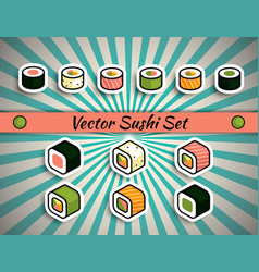 rolls sushi set vector image vector image