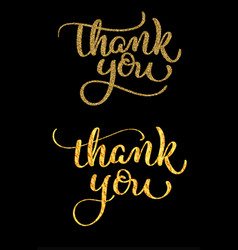 set of thank you golden text on dark background vector image vector image