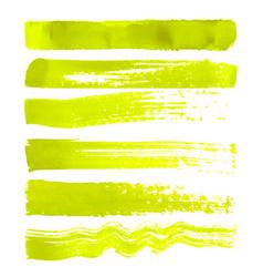 Set of yellow brush strokes vector