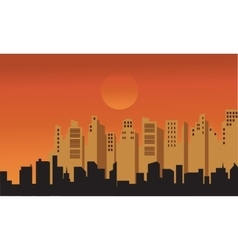 Silhouette of buildings at afternoon vector
