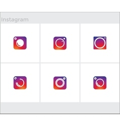 Social Media Icons set photo camera instagram vector image