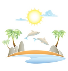 tropical island summer landscape vector illustrati vector image vector image