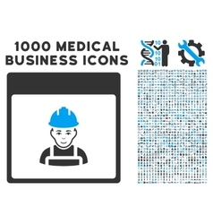 Worker calendar page icon with 1000 medical vector