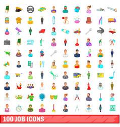 100 job icons set cartoon style vector