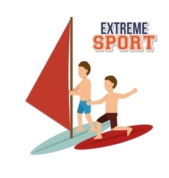 Extreme sport water surfing windsurfer vector