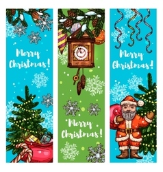 Christmas banner set with santa gift xmas tree vector