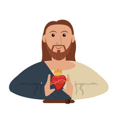 Jesus christ with sacred heart vector