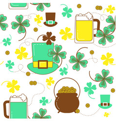 Clover hat beer and cauldron with gold st vector