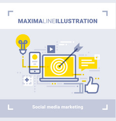 social media marketing and social networks vector image