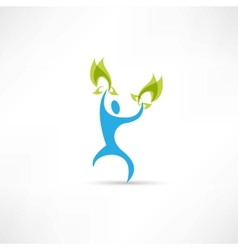 Blue people with leaves icon vector