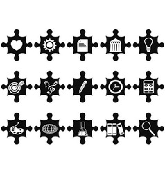 puzzle concept icons set vector image