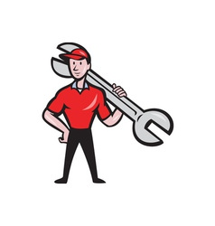 Mechanic hold spanner on shoulder cartoon vector