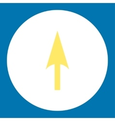 Arrow axis y flat yellow and white colors round vector
