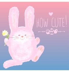 Greeting card with cute bunny and hand writing vector