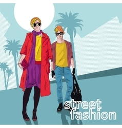 Fashion girl and boy in sketch-style vector
