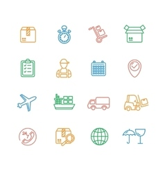 Cargo and shipping outline colorful icons set vector