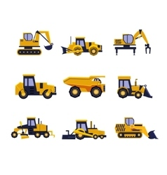 Construction equipment road roller excavator vector