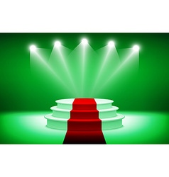 3d illuminated stage podium for award ceremony vector