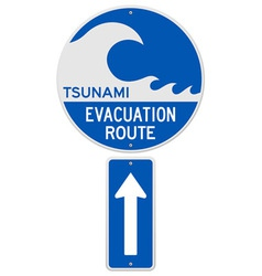 Tsunami evacuation route vector