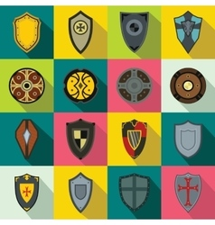 Shields set icons vector