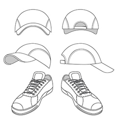 Outlined sneakers baseball cap set vector