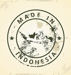 Stamp with map of indonesia vector