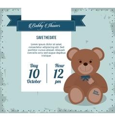Baby shower design teddy bear icon blue vector