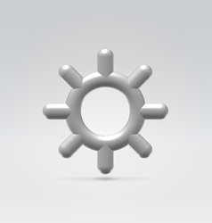 Silver metallic settings wheel icon vector