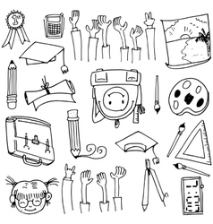 Hand draw doodles school education vector