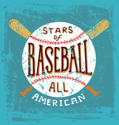 Baseball stars all american vector