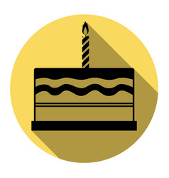 Birthday cake sign flat black icon with vector