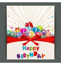 Birthday card with balloons and gift box vector image vector image