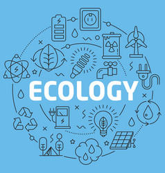 blue line flat circle ecology vector image