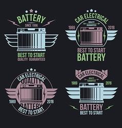 Car battery shop emblems vector