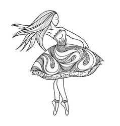 Card dancing girl in a dress anti-paint for adults vector