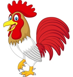 Cartoon funny chicken rooster isolated vector