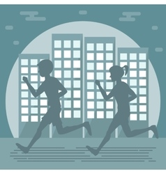 Couple jogging in the city vector