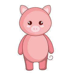 Cute and tender pig character vector