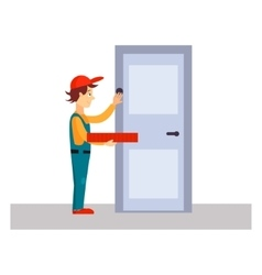 Delivery man knocking at door vector