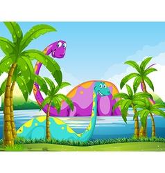 Dinosaur having fun in the lake vector image