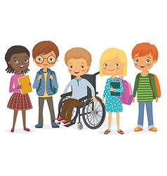Disabled child with his international friends vector